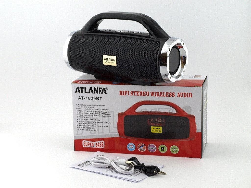 Портативная акустическая колонка Atlanfa AT-1829ВТ, FM, 12W, Super Bass speaker AUX bluetooth MP3 microSD/TF