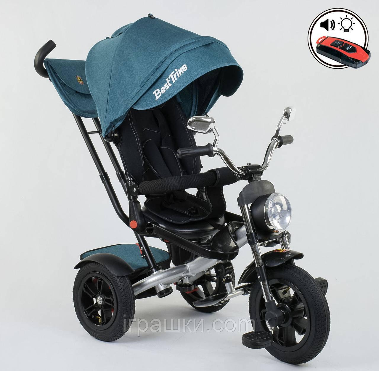 Трехколёсный детский велосипед Best Trike 4490 - 2209 с надувными колесами, ПУЛЬТ ВКЛ. СВЕТА И ЗВУКА
