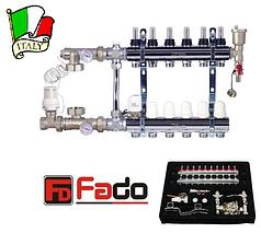 Коллектор для теплого пола на 4 контура FADO Италия со смесительным узлом