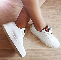 Gucci! Белые кожаные кеды мокасины женские слипоны в стиле Гуччи, фото 1