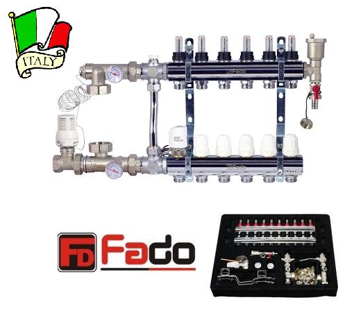 Коллектор для теплого пола на 10 контуров FADO Италия со смесительным узлом