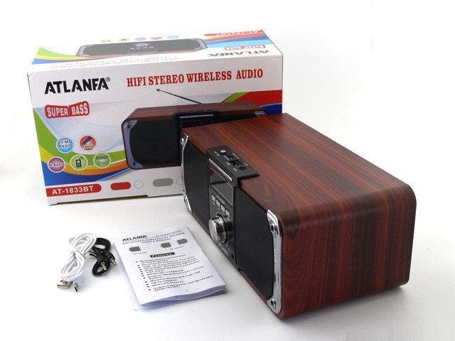 Колонка портативная акустическая Atlanfa AT-1833ВТ,FM, 12W + USB и функциейPower Bank