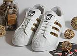 0306 Кроссовки Adidas Super Star с золотыми вставками. Натуральная кожа, фото 2
