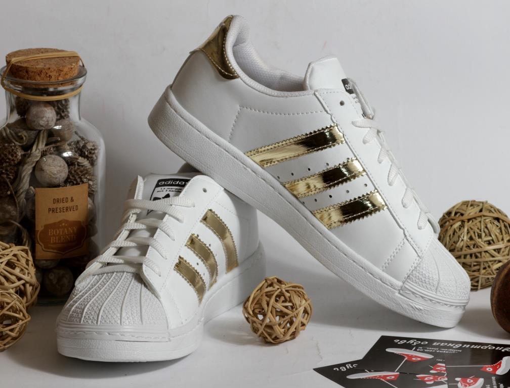 0306 Кроссовки Adidas Super Star с золотыми вставками. Натуральная кожа