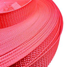 Лента, тесьма для сумок, рюкзаков 20 мм - 50 м стропа ременная полипропиленовая (красная)