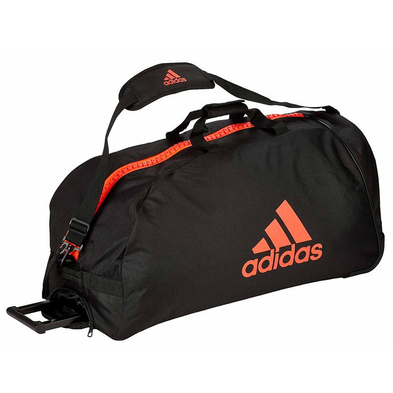 "Сумка спортивная на колесах Adidas Trolley ""Martial arts""  Polyester adiACC057 Черная с красным"