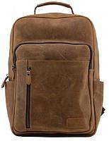 Городской кожаный рюкзак TIDING BAG t0027  на 12 л коричневый