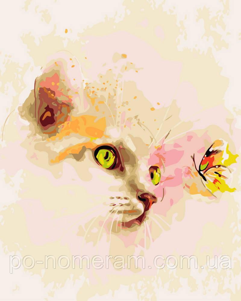 Раскраска для взрослых Кошка и бабочка (BRM9058) 40 х 50 см