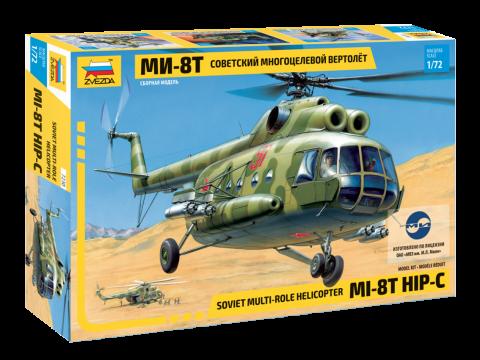Сборная модель вертолета. Ми-8Т советский многоцелевой вертолет. 1/72 ZVEZDA 7230