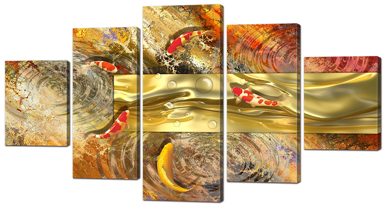 Модульная картина Interno Искусственный холст Абстракция рыбки 142х80см (Z970L)