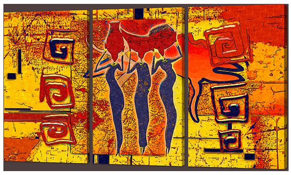 Модульная картина Interno Искусственный холст Девушки Африки  104х58см (Z928M)