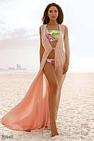 Шифоновая длинная пляжная туника-халат