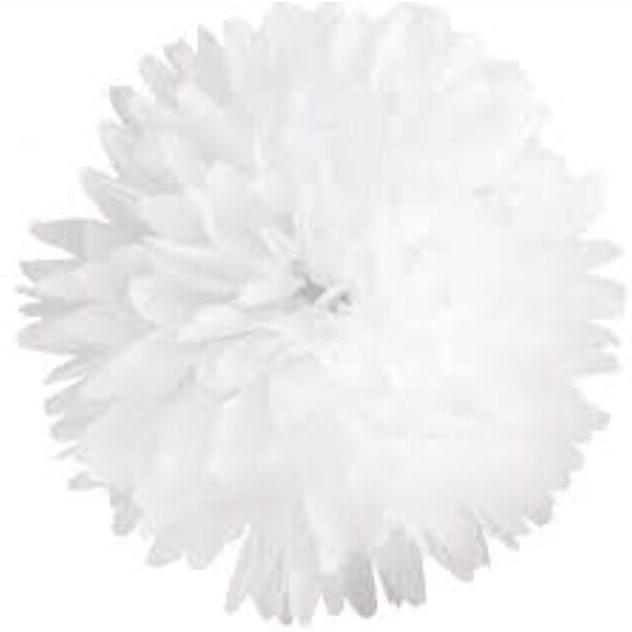 Бумажный помпон из тишью 15 см белый