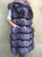 Жилет длинный из меха чернобурки. , фото 1