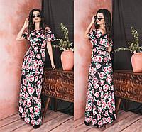 Красивое прямое женское платье в пол под пояс с открытым декольте с воланом 42-44, 44-46