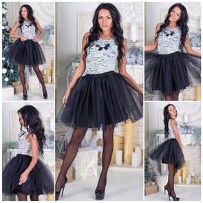 Фатиновая короткая черная юбка r-5jus73
