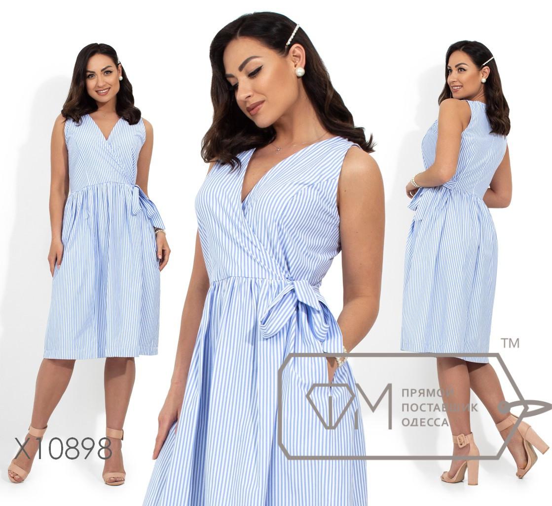 Коттоновое платье с имитацией запаха, голубой