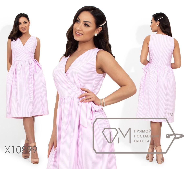 Коттоновое платье с имитацией запаха, розовый