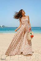 Шифоновая длинная пляжная туника-халат, цветочный принт