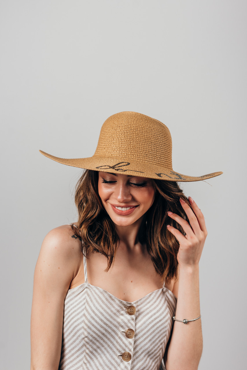 Шляпка широкополая Элена капучиновая