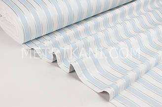 Тканина для постільної білизни з ранфорс блакитна смужка з сріблом Туреччина 240 см № WH-2954-4