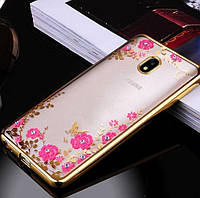 Силиконовый чехол с цветами и стразами для Huawei P8 Lite