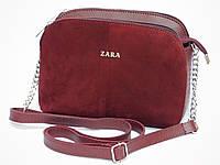 Замшевая мини-сумочка Zara цвет марсала, фото 1