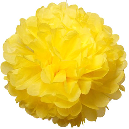 Бумажный помпон из тишью 15 см желтый