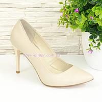 Туфли женские кожаные на шпильке, бежевый цвет. 35 размер
