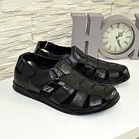 Мужские черные кожаные летние туфли. В наличии 43 размер