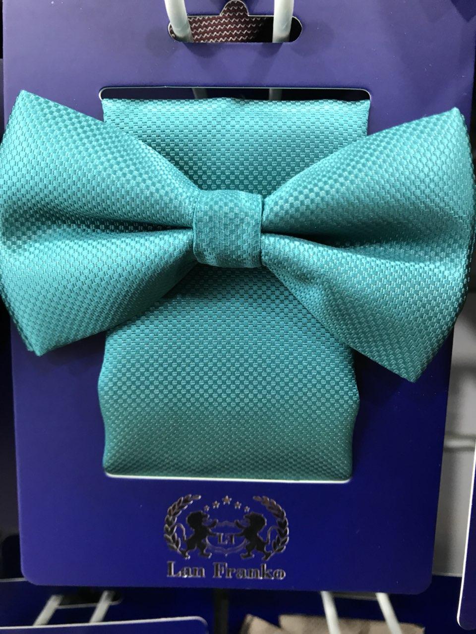 Комплект галстук-бабочка мужской с платочком модель 0159
