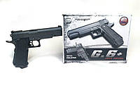 Пистолет металлический G 6+ на пульках, фото 1