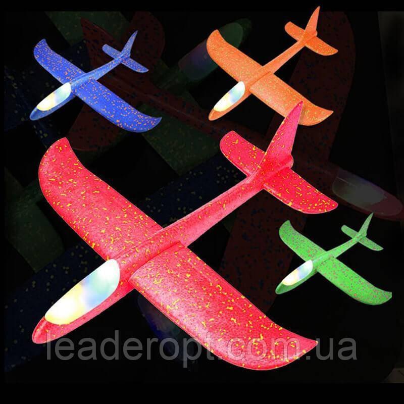 [ОПТ] Ручной метательный планер с подсветкой! Метательный самолет трюкач - 48см