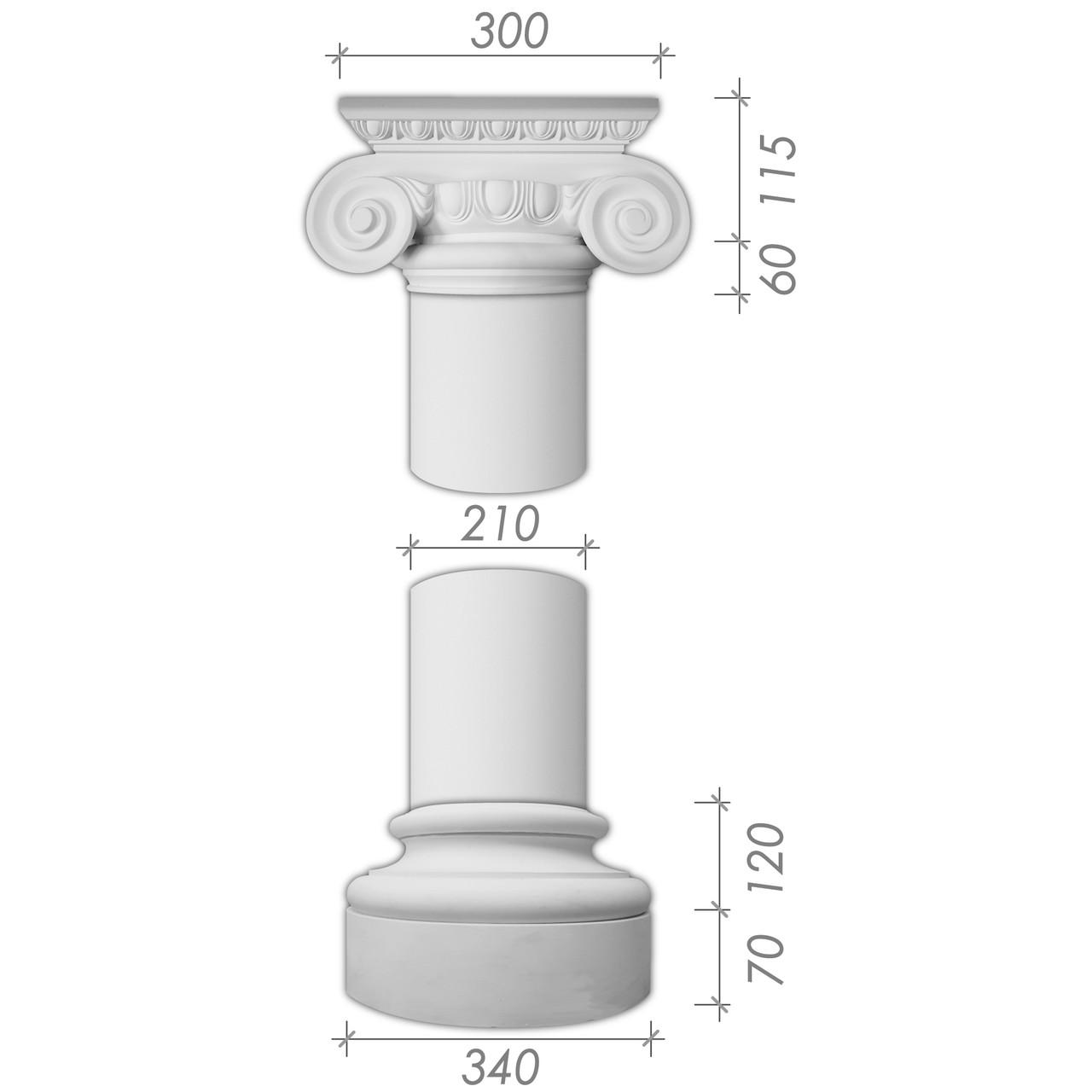 Колона з гіпсу, гіпсова колона ка-18 Ø210 мм (1/2)