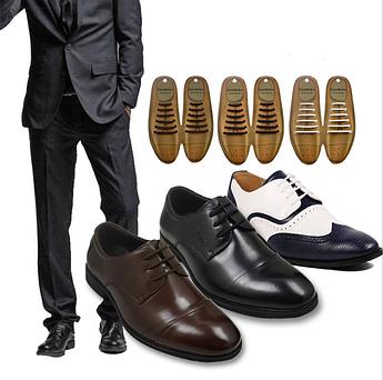 Шнурки силиконовые круглые универсальные для классической обуви. Силиконовые антишнурки