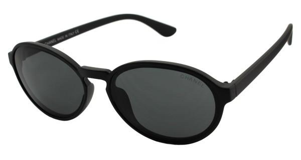 Солнцезащитные очки черные овальные Chanel