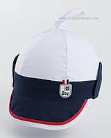 Летняя детская кепка Ванечка бело-синяя