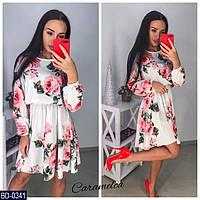 f6cb868b899 Женское Красивое Белое Платье Летнее с цветочным принтом р.С