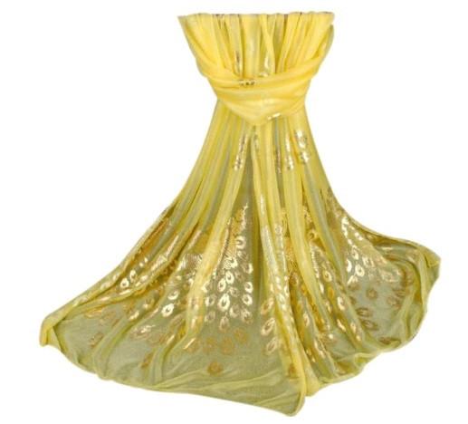 Женский желтый шарф с Павлинами - 170*40см