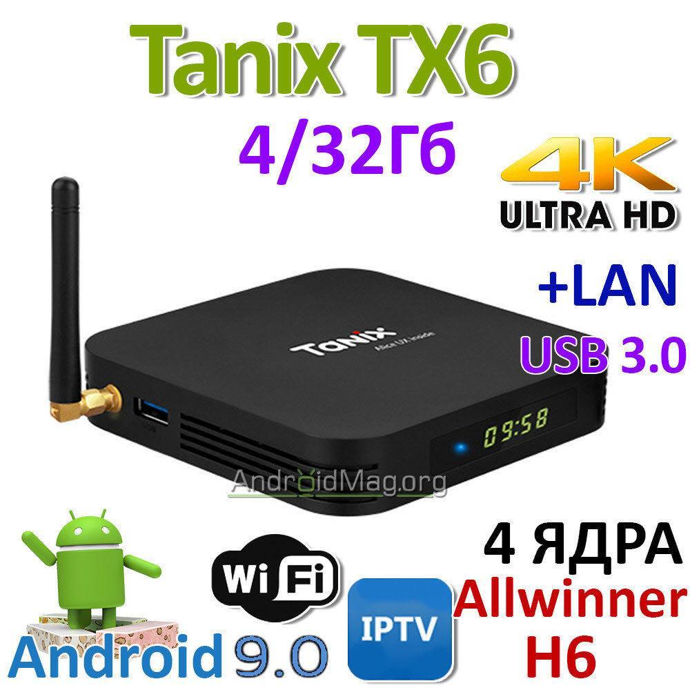 Тв приставка Tanix TX6 4Gb+32Gb (андроид тв, смарт тв, TV BOX, медиаплеер) X96, W95