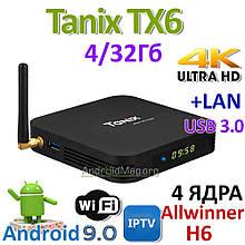 Тв-приставка Tanix TX6 4Gb+32Gb (андроїд тб, смарт тв, TV BOX, медіаплеєр) X96, W95