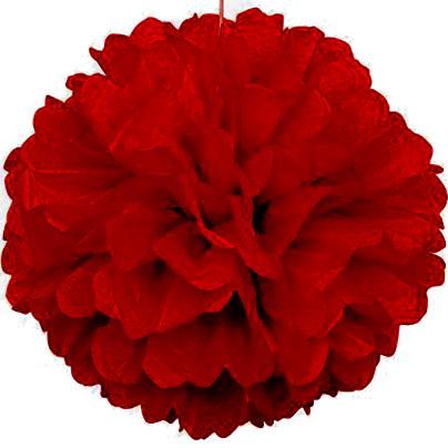 Паперовий помпон з тишею 15 см темно-червоний