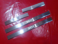 Хром накладки на пороги для Peugeot 301, Пежо 301