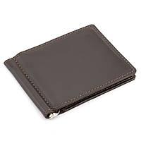 Зажим для денег кожаный без кнопки Crez-41 (коричневый), фото 1