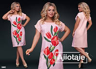 Летнее женское платье с цветочным принтом 50-56р.(3расцв)