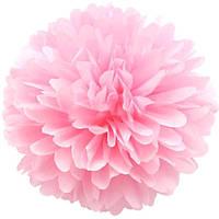 Бумажный помпон из бумаги 15 см нежно-розовый