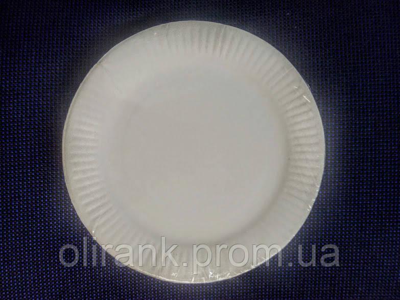 Тарелка бумажная  Ø170 мм  белая ламинированная(2000/100)
