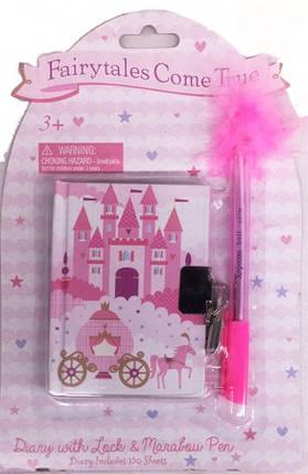 Блокнот на замочке детский + ручка шариковая-пух Замок 520B-1311, фото 2