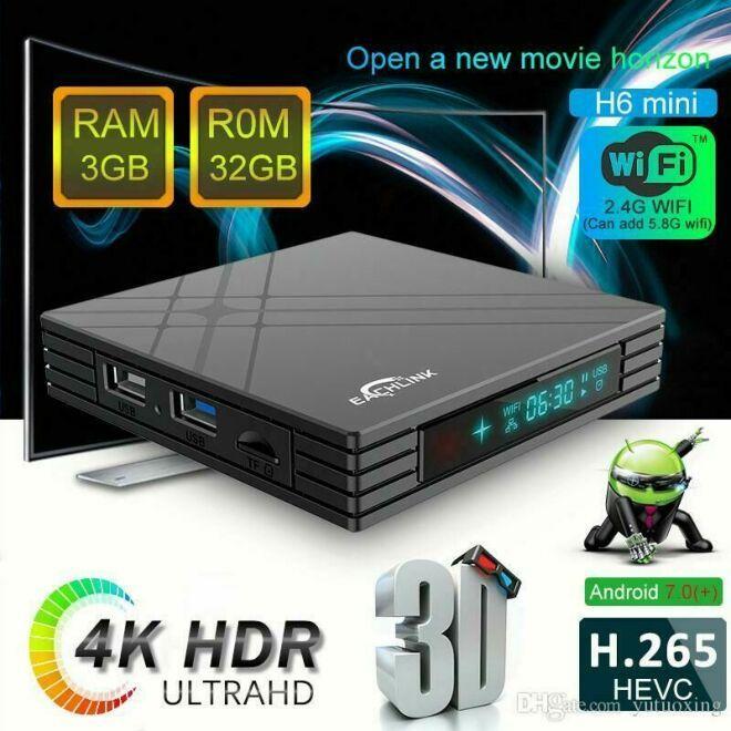 Тв-приставка EACHLINK H6 Mini 3Gb+32Gb (андроїд тб, смарт тв, TV BOX, медіаплеєр) X96, W95