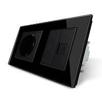Розетка двухместная комбинированная Силовая Интернет Livolo черный стекло (VL-C7C1EUK01C-12)